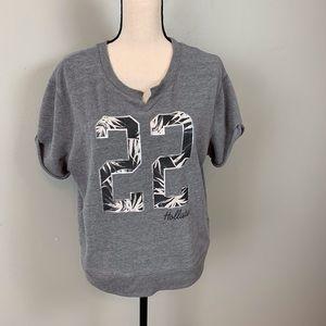 Hollister short sleeve sweatshirt/gray/size L